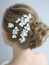 AW BRIDAL Silver Wedding Hair Combs Flower Girl Wedding Headpiece Ceramic Crystal Bridal Hair Clip Pins Hair Jewelry Accessories for Bride Bridesmaid
