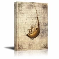 wall26 - Canvas Wall Art - Wine Splash in Glass on Vintage Letter Background - Gallery Wrap Modern Home Decor | Ready to Hang - 12x18 inches