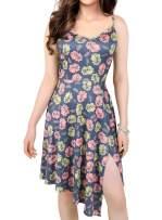 Women's Summer Floral Flowy Spaghetti Strap V-Neck Sleeveless Side Slit Irregular High Low Casual Beach Sundress Midi Dress