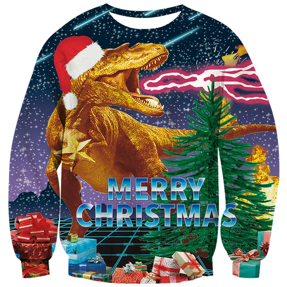 TUONROAD 3D Graphic Ugly Christmas Sweater Funny Holiday Sweater for Men /& Women