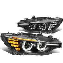 DNA Motoring HL-3D-F3013-BK Black Housing Crystal U-Halo Projector Headlights With 3D LED Turn Signal For 12-16 F30