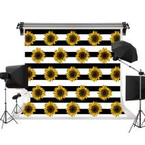 Kate 7x5ft/2.2m(W) x1.5m(H) Sunflower Backdrop Black White Stripes Photography Background Summer Holiday Party Backdrops Child Birthday Party Decoration Backdrop