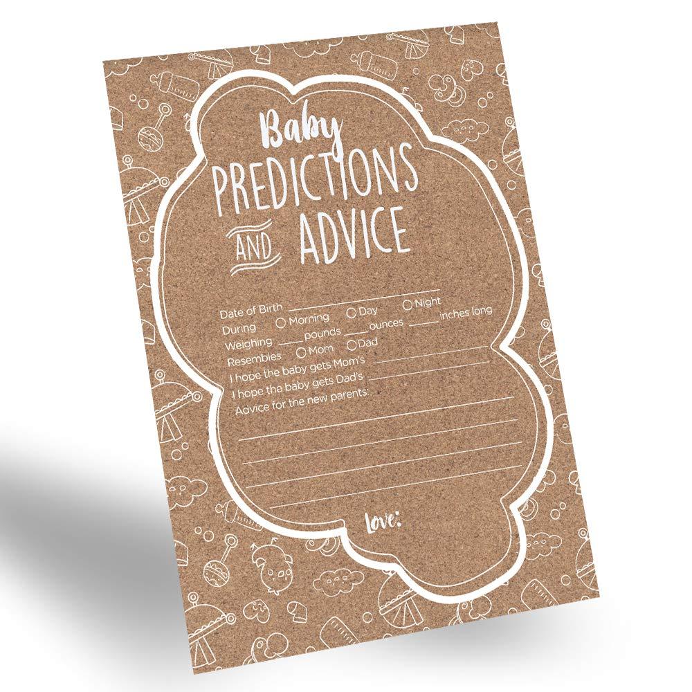 60-Pack Gender Prediction Cards, Gender Neutral Baby Prediction Cards for Gender Reveal & Baby Shower, Rustic Baby Prediction and Advice Cards, Gender Neutral Party Favors for New Parents