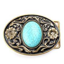 Belt buckle, Western cowboy Turquoise Stone belt buckle for leather belts
