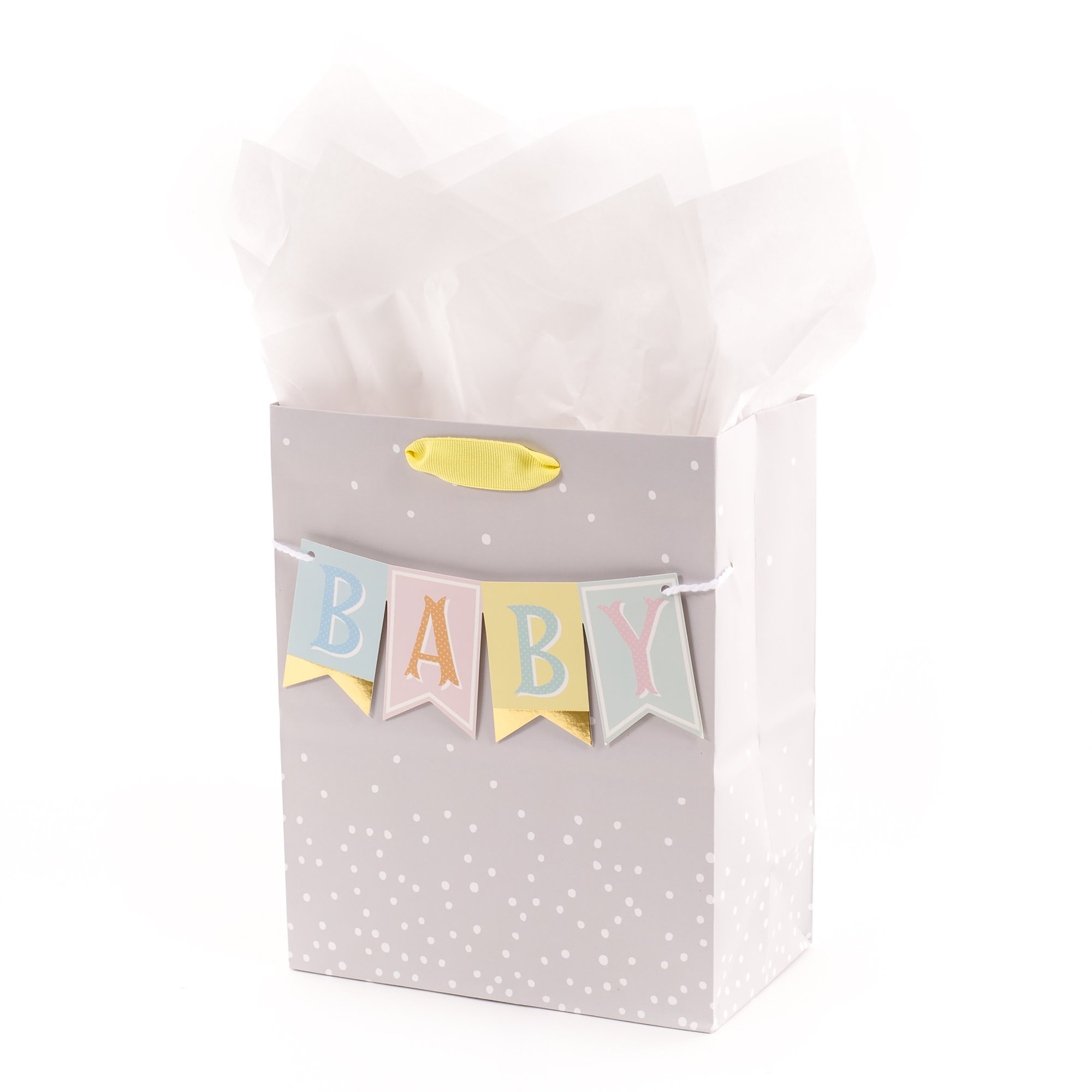 """Hallmark 9"""" Medium Baby Gift Bag with Tissue Paper - Baby Banner in Grey, Pink and Blue for Baby Showers, New Parents, and More"""