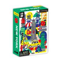 "Mudpuppy New York Mini Puzzle, 48 Pieces, 8"" x 5.75"" – Perfect Family Puzzle for Ages 4+ – Features a Colorful Illustration of Iconic New York Landmarks, Multicolor (0735363560)"
