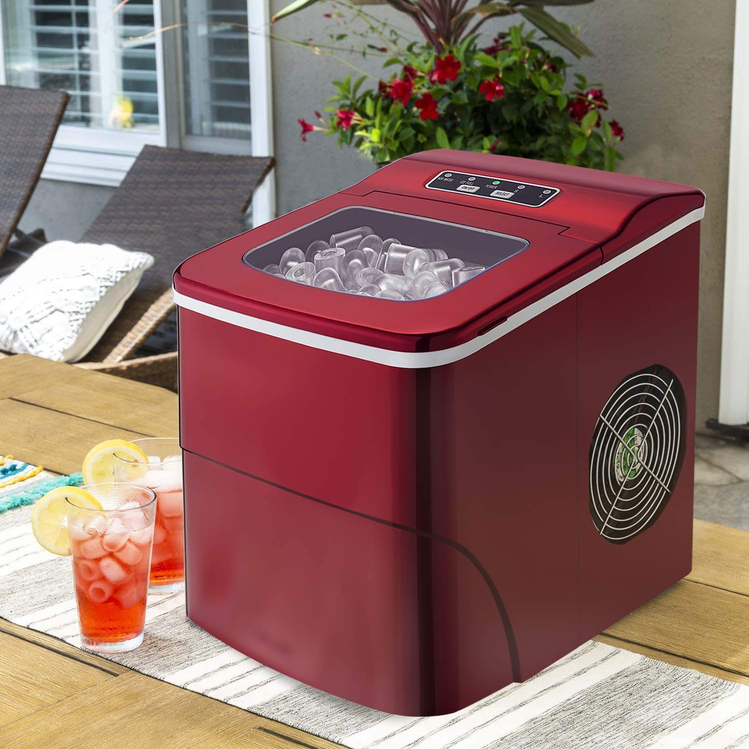 Antartic Star Countertop Portable Ice Maker Machine, 9 Ice Cubes Ready in 8 Minutes,Makes 26 lbs of Ice per 24 hours,with LCD Display, Ice Scoop and Basket Perfect for Parties Mixed Drinks.(red)