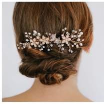 SWEETV Wedding Hair Comb Gold Rhinestone Flower Clip Bridal Hair Accessories for Bridesmaid Women