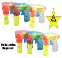 6 Pack Wind up Bubble Gun Shooter with LED Lights Bubble Blaster Ideal for Party Favors, Indoor and Outdoor Toys, Birthday Gifts, Bubble Toys for Boys and Girls of all ages, No Batteries required