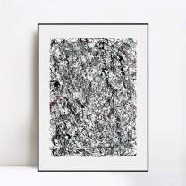 """INVIN ART Framed Canvas Giclee Print Art Number 19 1948 by Jackson Pollock Abstract Wall Art Living Room Home Office Decorations(Aluminum Metal Black Frame with Mat & Glass,28""""x40"""")"""