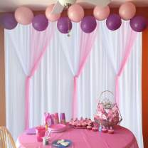 Leegleri Pink Tulle Backdrop Curtains for Parties Baby Shower Birthday Backdrop Drapes 10ft×7ft