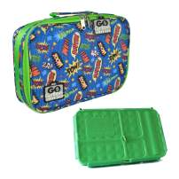 Go Green Lunch Box Set • 5 Compartment Leak-Proof Lunch Box • Insulated Carrying Bag • Beverage Bottle • Gel Freezer Pack (Superhero Comic)