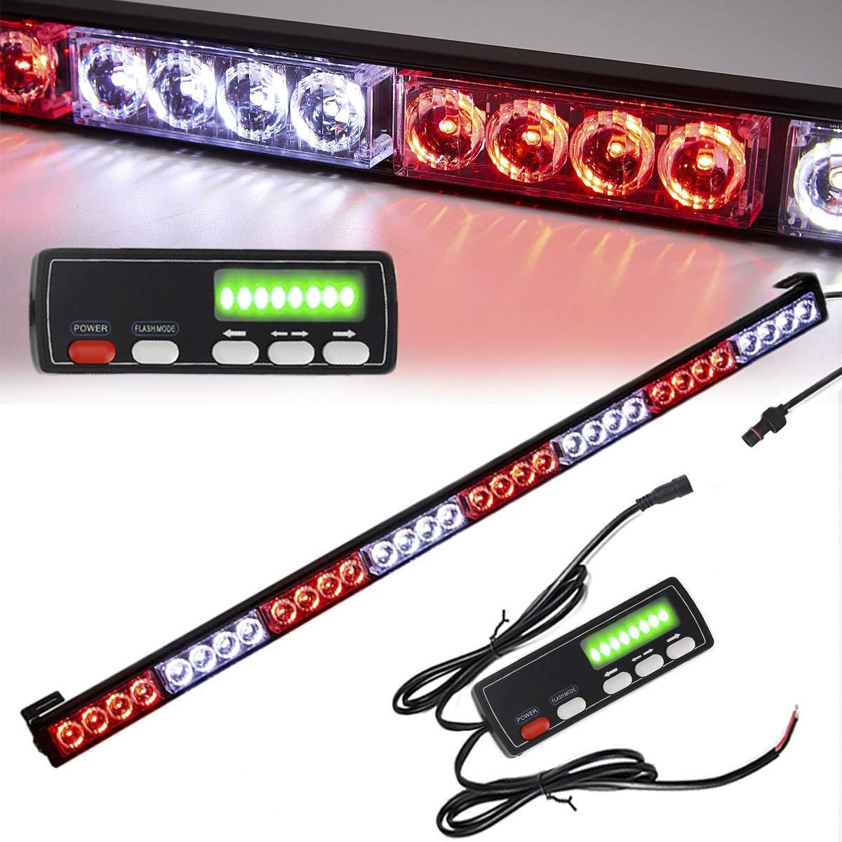Led Strobe Light Bar 35.5 Inch 16 Flash Modes 32 Led Strobe Lights Traffic Advisor Directional Emergency Light Bar Flashing Safety Lights with Led Display Screen Controller(35.5 Inch, White/Red)