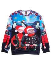 Ugly Christmas Sweater Style 3D Men Women Cat T-Rex Trump Pullover Sweatshirt