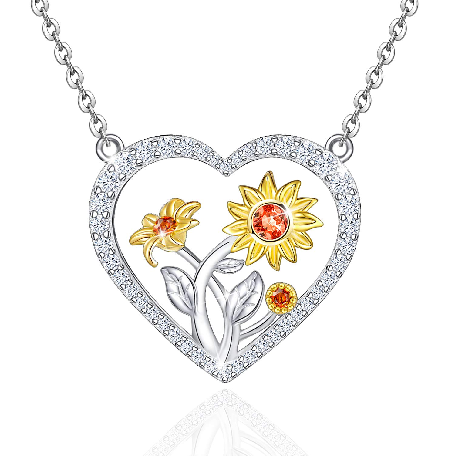 Distance 3 Sunflower Necklace for Women 925 Sterling Silver You are My Sunshine Love Heart Necklace Pendant Jewelry for Girls Daughter