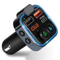 JOELELI Bluetooth 5.0 FM Transmitter with Microphone for Car, QC3.0+Type-C PD 18W Wireless Bluetooth FM Radio Adapter Bass Sound Music Player FM Car Kit with Hands-Free Calling, 3 USB Ports Charger