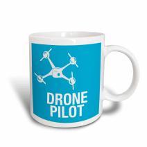 3dRose 179914_1 Blue Drone With Uav Pilot Ceramic Mug, 11 oz,
