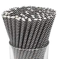 Just Artifacts 100pcs Premium Biodegradable Chevron Striped Paper Straws (Chevron, Black)