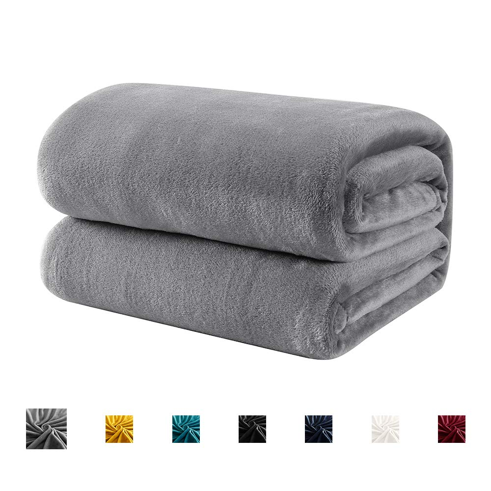 Hboemde Fleece Blanket Throw Size Grey Lightweight Soft Cozy Bed Blanket for Couch Microfiber Flannel Blanket