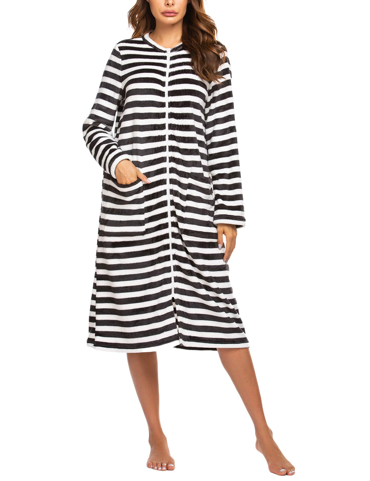 Ekouaer Women Long Sleeve Pajamas House Coat Zipper Front Robes Full Length Nightgowns with Pockets Striped Loungewear
