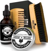 Beard Brush, Oil, Balm, & Comb Grooming Kit for Men's Care, Travel Bamboo Facial Hair Set for Growth, Styling, Shine & Softness, 100% Natural & Organic Ideal for All Styles