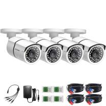 ZOSI 4 Pack HD-TVI 1280TVL 720p Home Security Camera Outdoor Indoor, Weatherproof Surveillance CCTV Bullet Camera with 120ft Long Night Vision and 90° View Angle