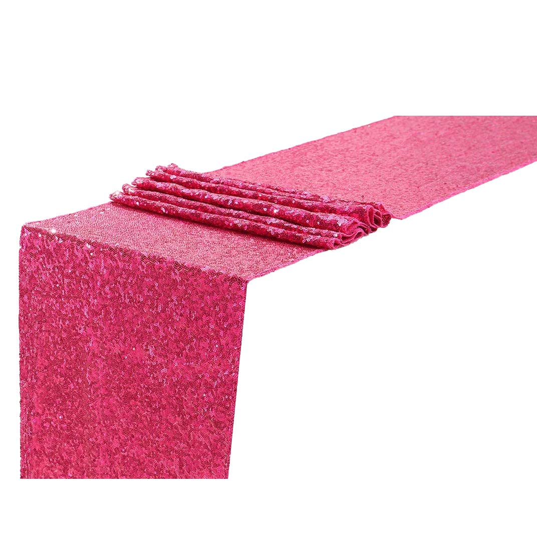 Eternal Beauty Sequin Table Runners 12'' X 120'' Hot Pink Table Runner-Fuchsia Event Party Supplies Fabric Decorations for Wedding Birthday Baby Shower