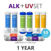 Express Water – 1 Year Alkaline Ultraviolet Reverse Osmosis System Replacement Filter Set – 11 Filters with UV and 50 GPD RO Membrane – 10 inch Size Water Filters