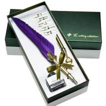 Feather Pen GloDeals Antique Calligraphy Pen Handcrafted Feather Quill Pen Set Writing Quill Dip Pen with 5 Replacement Nibs, Pen Nib Base,Dip Ink Bottle in Gift Storage Box(Purple)