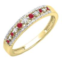 Dazzlingrock Collection 10K Round Gemstone & Diamond Ladies Anniversary Wedding Band Ring, Yellow Gold