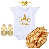 Baby Girls' Newborn Crown It's My 1st Birthday Costume Princess Outfit Bodysuit Romper Tutu Shiny Pants Dresses Bow tie Set #1 White Unicorn Lace Sleeve 12-18 Months