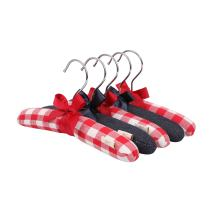 NEOVIVA Baby Hangers Set of 5 with Bow Knot, Fabric Clothing Hangers for Baby Wardrobe, Checked Red