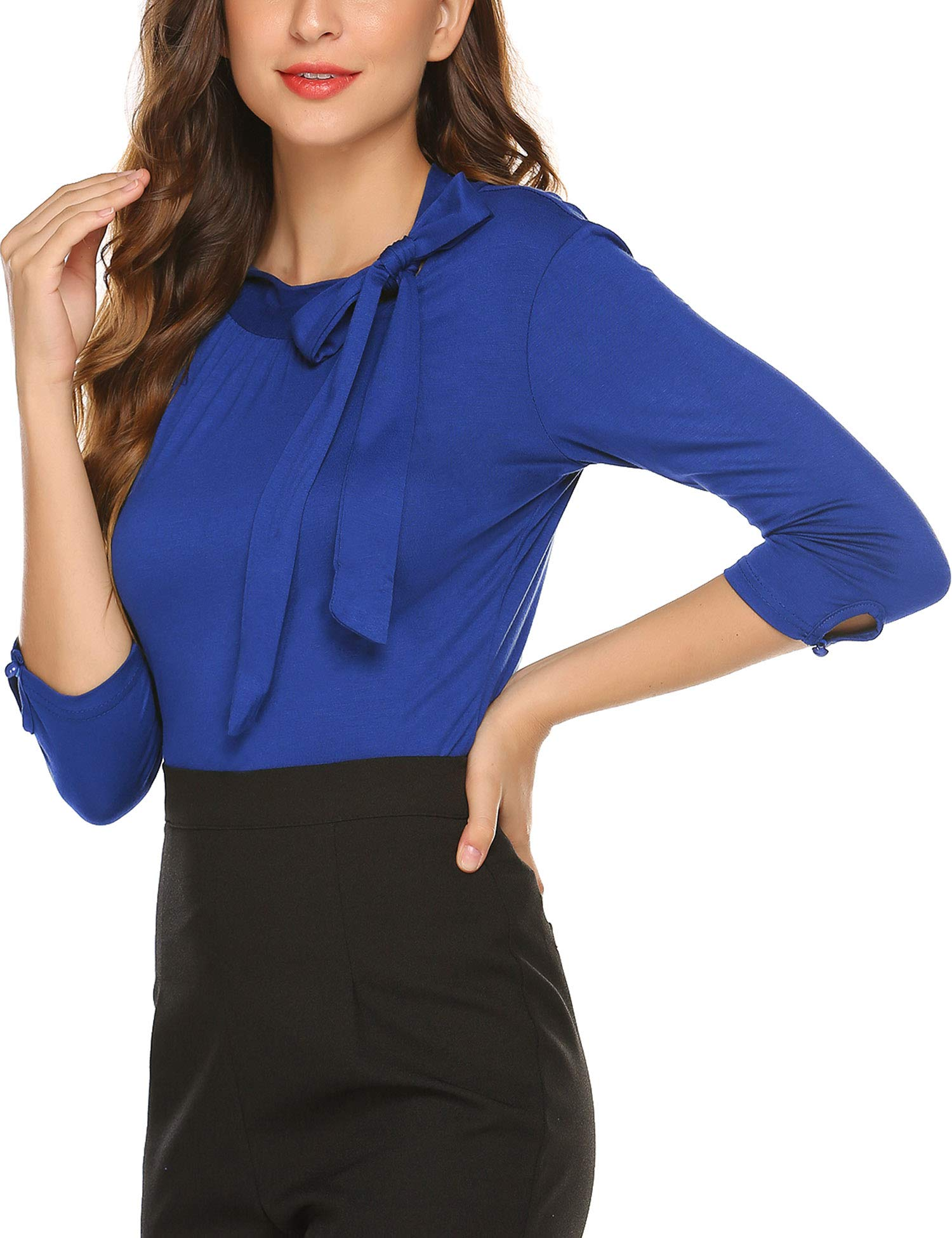 SoTeer Womens Bow Tie Neck Long/Short Sleeve Casual Office Work Blouse Shirts Tops