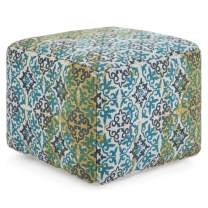 Simpli Home Laine Square Pouf, Footstool, Upholstered in Aqua, Blue Natural Woven Pattern Cotton, for the Living Room, Bedroom and Kids Room, Contemporary, Modern