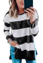 Angashion Women's Sweatshirts - Casual Leopard Print Crewneck Long Sleeve Oversized Pullover Tunic Sweatshirt Tops