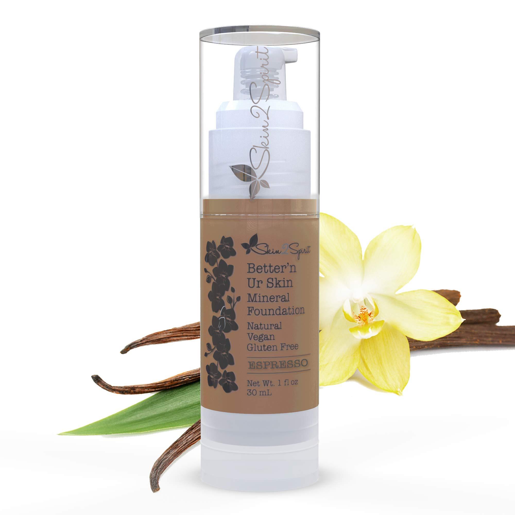 Better'n Ur Skin (ESPRESSO: Rich Brown, Cool) Organic Liquid Foundation | Healthy, Buildable Coverage | All Natural | Vegan | Cruelty Free | Gluten Free | Non GMO | Palm Free | Natural Sun Protection