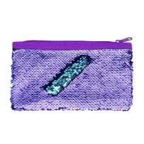 Cute Kids Pencil Case Glitter Reversible Sequin Pen Pencil Pouch for Girls Cosmetic Makeup Organizer Bag Purse for Women (Purple)