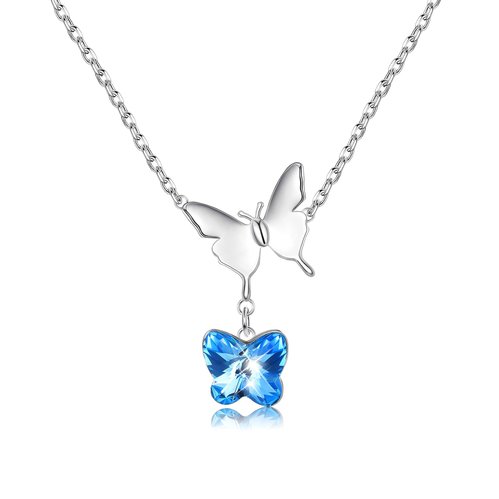 Sllaiss 925 Sterling Silver Butterfly Necklace Blue Crystal from Swarovski Butterfly Pendant for Women Boxed Valentine's Day Gift