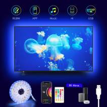 WiFi TV LED Backlights,EppieBasic 14.9Ft Alexa Led Light Strip TV for 60 to 72inch 6500K RGBW Bias Lighting Color Changing Sync with Music,APP Control Ambient Mood Lighting USB Powered Only 2.4Ghz