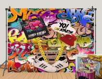 Colorful Graffiti Photography Backdrop 80s 90s Hip Hop Theme Photo Booth Studio Props Supplies Retro Music Photo Background Rock Punk Prom Party Banner Decorations 5x3ft Banner