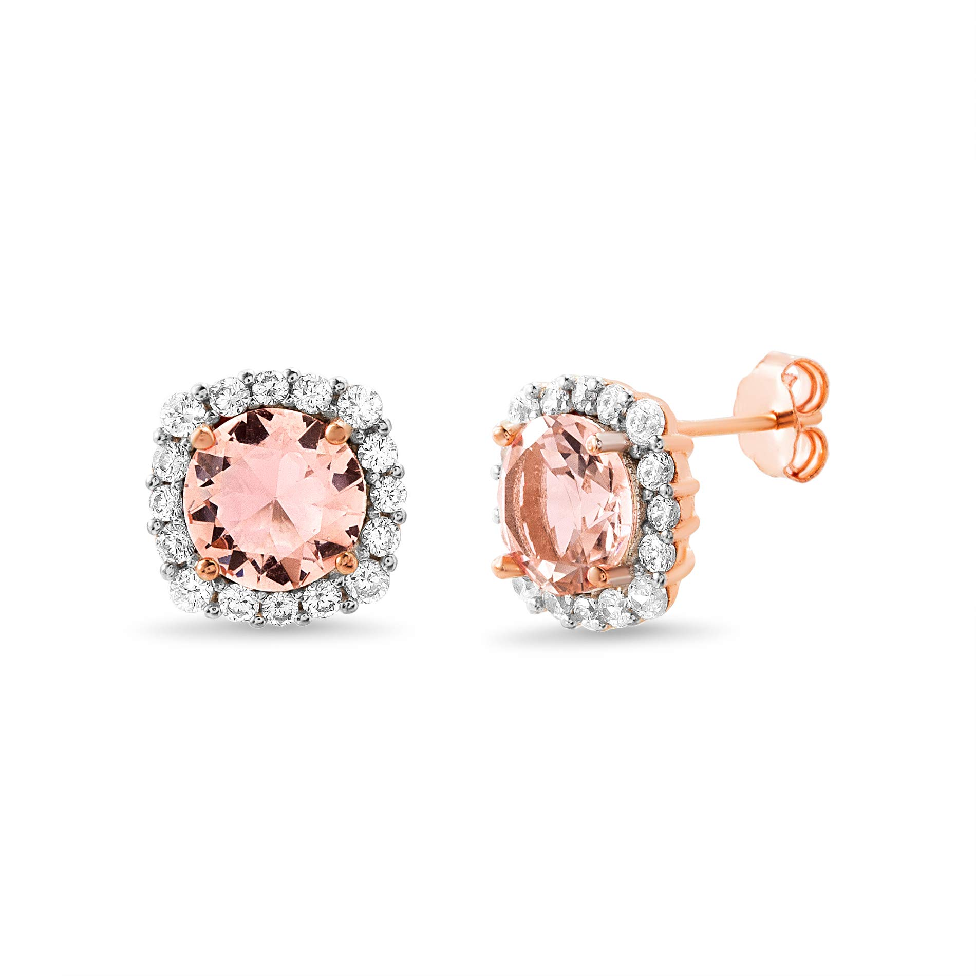 INSPIRED BY YOU. Rose Gold Plated Sterling Silver Cushion Shaped Simulated Morganite and Cubic Zirconia Stud Bridal Halo Earring for Women