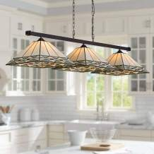 """Pleske Bronze Large Linear Island Pendant Chandelier 56"""" Wide Tiffany Style Mission Square Art Glass 3-Light Fixture for Kitchen Island Dining Room - Robert Louis Tiffany"""