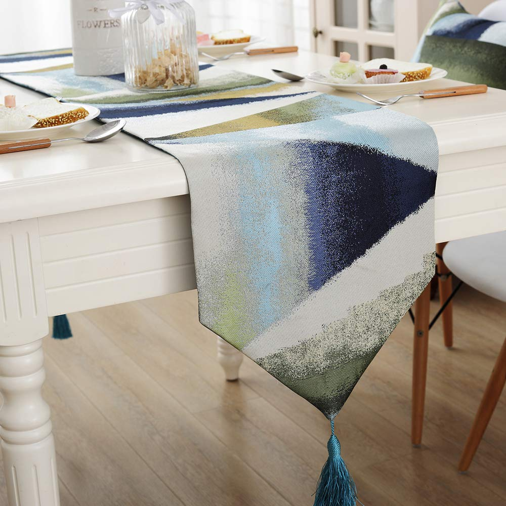 Zupro Multi-Size Elegant Tassels American Country Classic Table Runners,for Dining Table,Tea Coffee Table Dresser Shoe Box 13x87 Inches(32 x220cm),Oil Painting Geometry - Blue