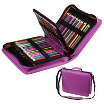 210 Slots Colored Pencil Case PU Leather Pencil Holder Large Capacity Pen Bag Marker Carrying Case for Prismacolor, Watercolor Pencils, Colored Pencils, Gel Pens, Cosmetic Brush Organizer (Purple)