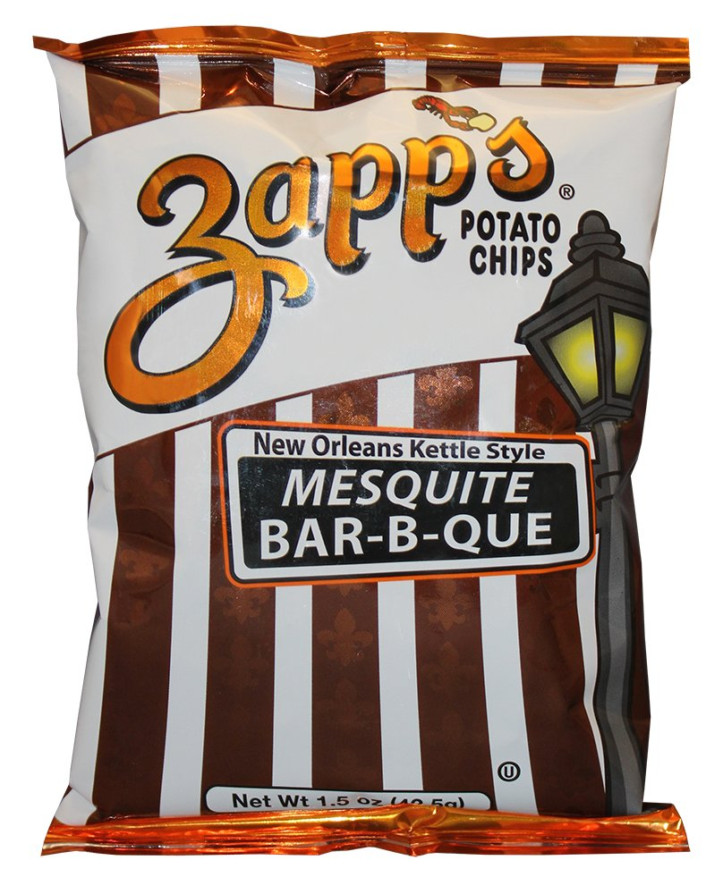 Zapp's New Orleans Kettle-Style Potato Chips, Mesquite BBQ – Crunchy Chips with a Smokey Kick, Great for Lunches or Snacking on the Go, 1.5 oz. Bag (Pack of 30)