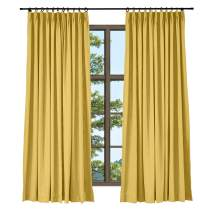 TWOPAGES Decorative Natural Window Curtain Yellow Linen Cotton Pinch Pleat Curtain for Sliding Glass Door (1 Panel, 100 x 96 Inches)