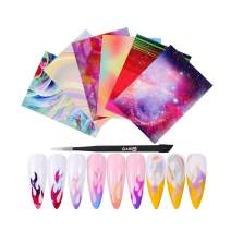 CCbeauty Nail Flame Stickers,Halloween DIY Fire Nail Art Decals, Nail Foils Tape Adhesive Decoration,with 1 Tweezers Manicure Sticker Kit,6pcs