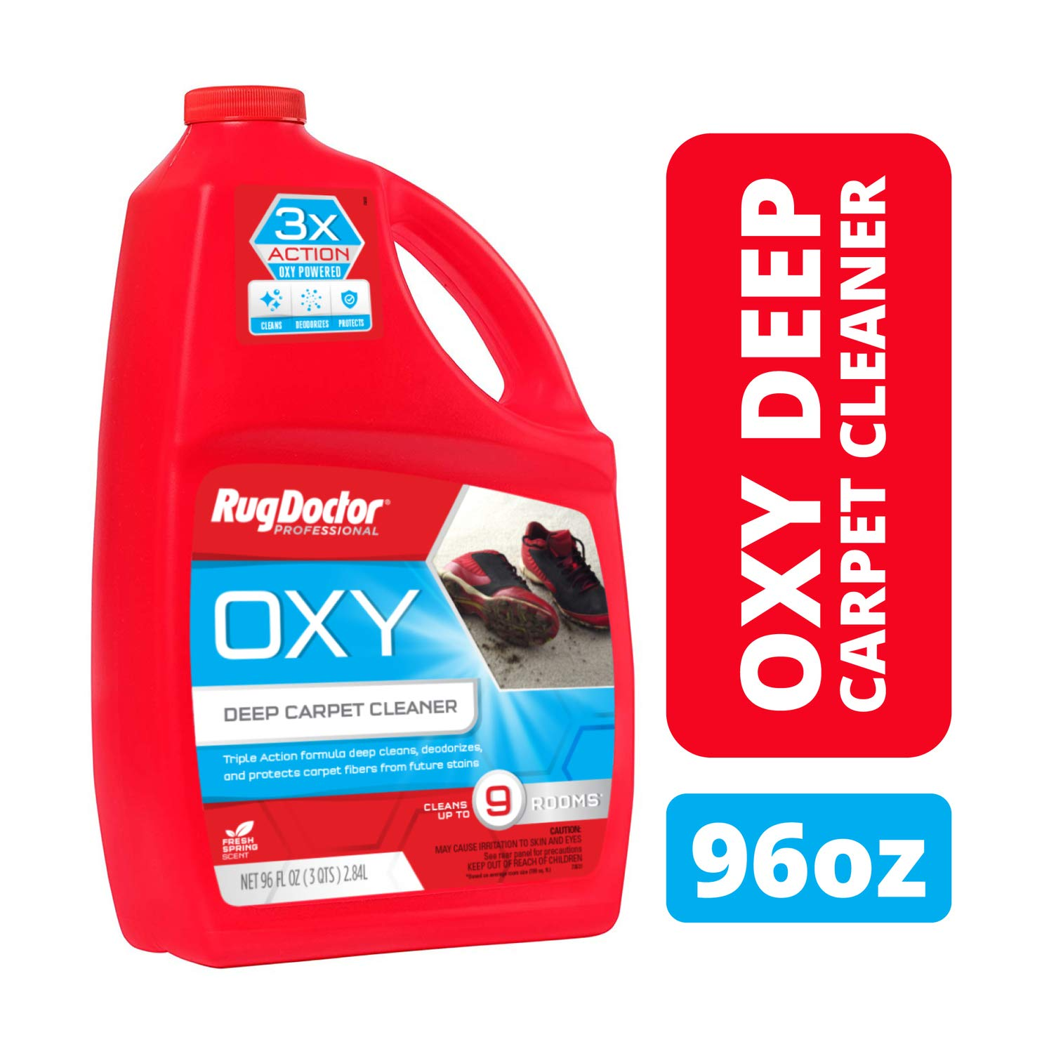 Rug Doctor Deep Cleaner Powerful, Professional-Grade, Deodorizes and Refreshes Carpet Cleaning Solution Triple Action Oxy 96 oz, 1