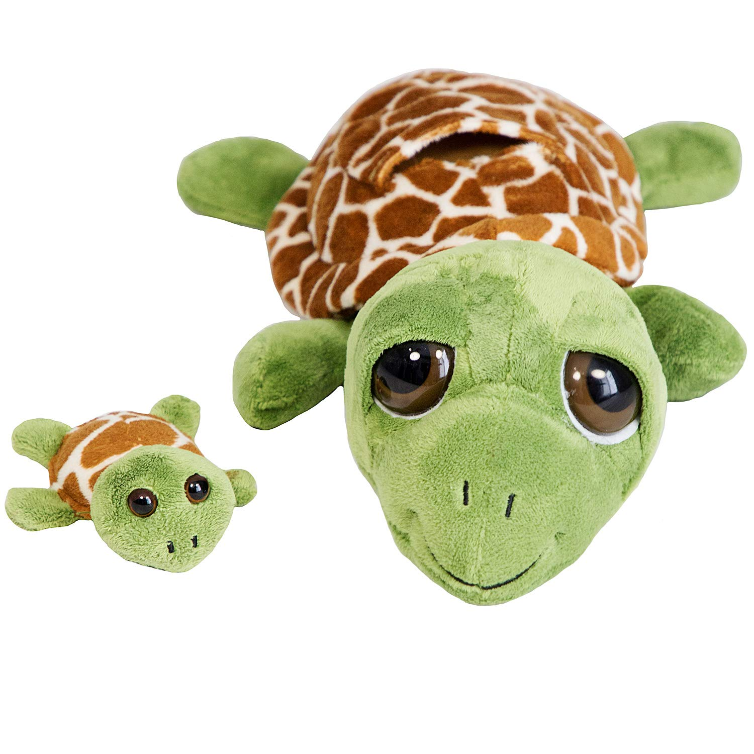 "The Petting Zoo -Bright Eyes 10"" Pocketz Mom & Baby Turtle - Stuffed Animal Toy - Great for Baby/Toddlers/Kids - Boys & Girls"