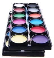 Face Paint Kit for Kids – 2 Pack, 12 Large Washable Paints, Stencils, 3 Brushes, Safe Kids Facepainting for Sensitive Skin, Professional Facepaints - Halloween Makeup Kit Body Paint Supplies (2 Pack)